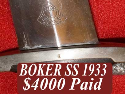 SS 1933 boker german dress dagger price