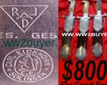 """R.A.D. """"Arbeit Adelt"""" Are you selling an R.A.D.Hewer or dagger? DAVID MATTEY IS ON-LINE TO ANSWER INQUIRIES AND MAKE OFFERS WITHOUT OBLIGATION.    German Dagger Buyers pay in advance using the """"Paypal""""service. Sellers will not be required to ship items until full payment is shown to have been deposited in their """"Paypal""""Accounts.   Customers can expect to achieve around 70% of the list Prices seen on specialist websites for equivalent items. The selling process is immediate. German Dagger Buyers cover shipping costs and fees. Consigned collections and special items will achieve a greater return figure for sellers, potentially 80%-90% of dealers listed prices."""