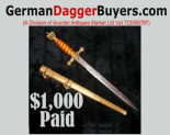 Kriegsmarine Daggers 2017-2018 Cash Buyers Routinely Paying 30%-40% More!   Obtain an offer/free valuation without any obligation to sell we are at your service now. Send us in an e-mail containing photos of your German Navy Dagger and we will provide you with up to date Offer/valuation. We know what Museums, collectors and our city investors are willing to pay .     We buy from Veteran's families, collectors and dealers worldwide including the major advertisers on the internet today .We are high end retailers buying for a long term investment group and for some of the the most advanced collectors. Whether selling one Dagger or an entire collection GDB.com. would like the opportunity to make you a superior offer. GDB.com do not support the unregulated sale of  Swords or knives on the World Wide Web. We will only supply legitimate none political investors.m Our Payment Policy is straightforward:Sellers receive immediate payment for your items in full. We pay any duty on goods arriving from outside Overseas and pay all postal costs. By dealing with dedicated professionals you will avoid the risks associated with posting your personal details over the internet we operate a zero spam policy. If you would prefer to speak to us directly rather than to   communicate via email we are quite happy to negotiate by telephone. Our office is open 11am-5pm GMT every day. If you live within range please come and visit us. Our services are confidential. We are happy to make purchases regardless of distance. We offer a legal selling option for those of you living within areas of the Union where the open trading in some artifacts is forbidden.